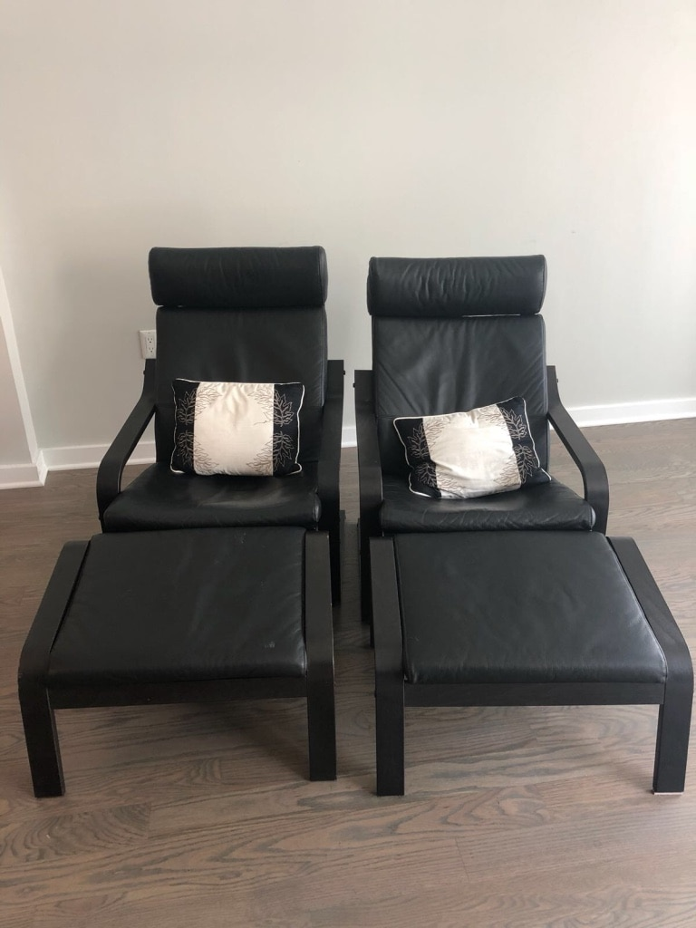 Delicieux 2 IKEA Leather Poang Chair And Ottoman Set