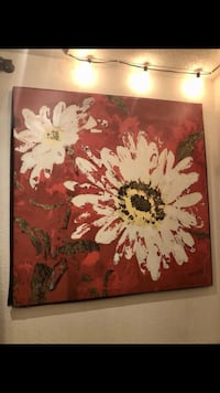 Beautiful burgundy red canvas with daisy flowers  Sheridan, 97378