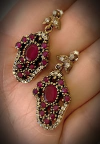 Indigo Goddess RUBY DANGLE POST EARRINGS Solid 925 Sterling Silver San Diego, 92103
