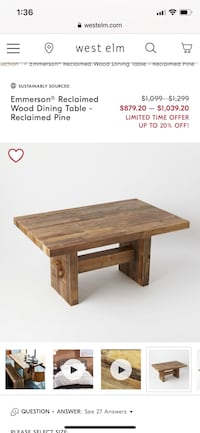 West elm reclaimed table and bench Amherst, 03031