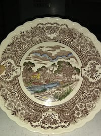 white and gray toile printed decorative plate