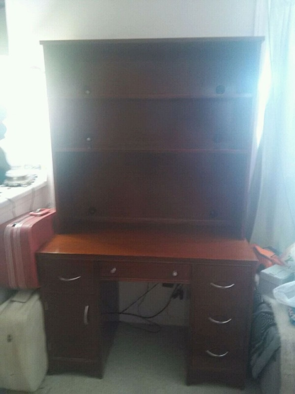 brown wooden desk with hutch 0