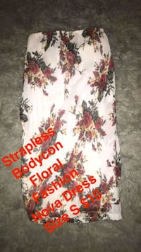 White Floral Bodycon Strapless Fashion Nova Dress Las Vegas, 89121