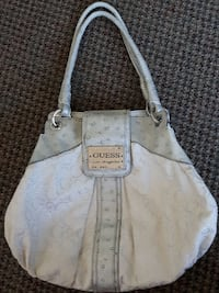 monogrammed grey and white Guess leather shoulder bag