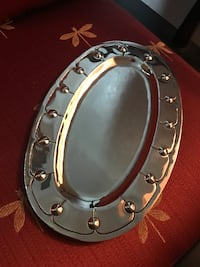 Round silver-colored framed mirror Corpus Christi
