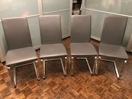 4 grey dining chairs
