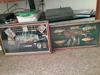 two fish and rod wall decors