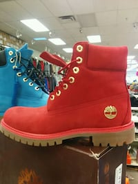pair of red Timberland work boots Toronto, M1L 2L6