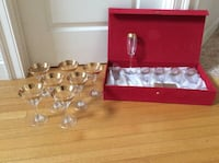 NEW 6 Champagne Flutes in Box And 7 Martini Glasses West Newbury, 01985