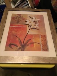 White petaled flower painting with brown wooden frame Bristow, 20136