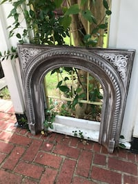 """Metal vintage fireplace surround.. can also be used as an arch for hanging..30""""w..32""""h..opening..26""""h.18""""w Homewood, 35209"""