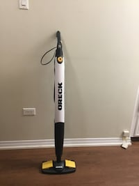 black and white Shark upright vacuum cleaner.  This steam cleaner works well on linoleum or wood floors. It is only 6 months old..hardly used. Used with water only. Calgary, T2V