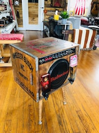 Budweiser beer crate amp. Jam 150watt amp sounds great and looks cool. No more ugly amp you have to put away. This baby rocks ! Los Angeles, 90046