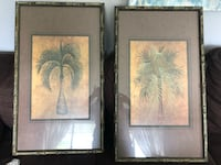 Two green palm trees paintings with frames Marion, 52302