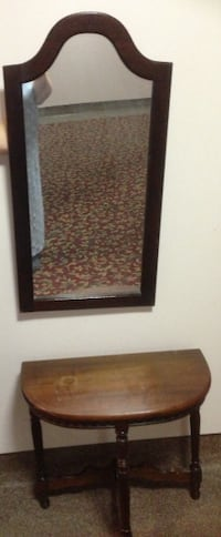 Solid wood Mirror and solid wood half moon console  TORONTO