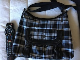ROOTS plaid cross body purse