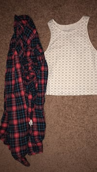 Women's white and gray tank top ; red, blue, and black plaid flannel New Westminster, V3M 2B8