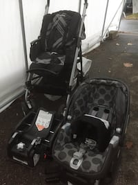 Baby's black-and-gray travel system