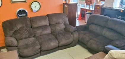 beautiful and comfortable dark brown set of 2 reclining couches