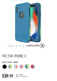 NEW LIFEPROOF FRĒ FOR iPHONE X BANZAI BLUE CASE Toronto