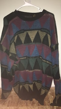 blue, red, gray and black scoop-neck long-sleeve sweater