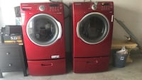 Cherry Red Front Load Steam Washer AND Dryer Set with both pedestals