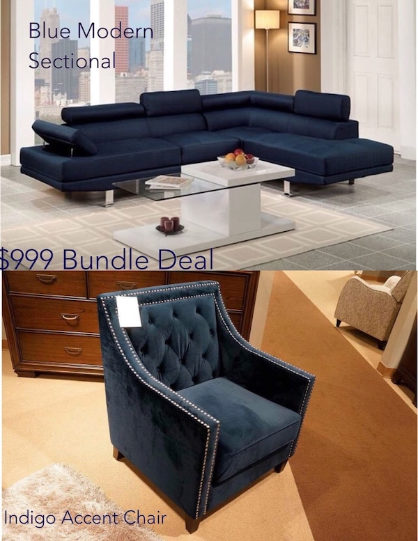 Blue Sectional | Blue Accent Chair | Living Room Set