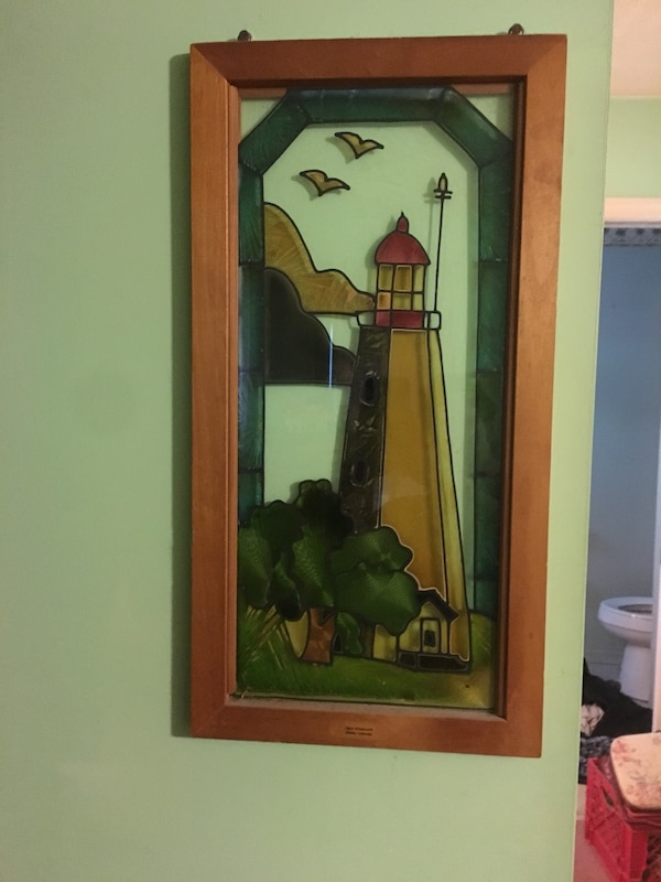 Lighthouse stained glass wall decor