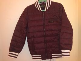 Kids burgundy down blend quilted bomber