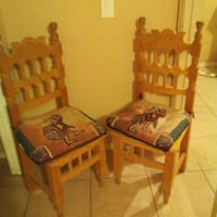 two brown wooden chairs with cushion Casa Grande