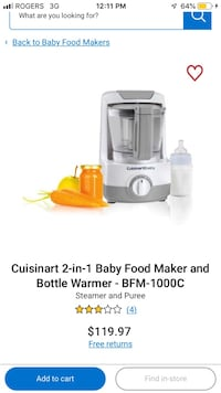 Cuisinart 2-in-1 Baby Food Maker and Bottle Warmer Vaughan, L4J 0C9