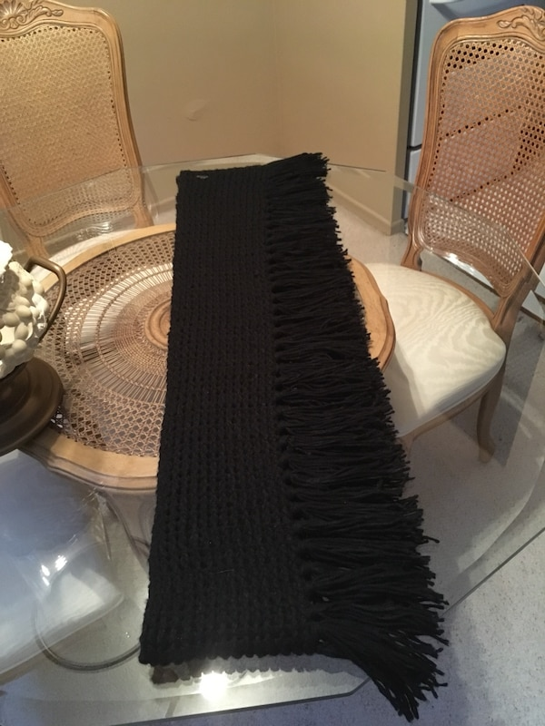 Never worn long black fringe scarf by Barts length 90 inches