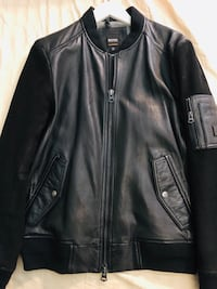 black leather zip-up jacket New York, 11102