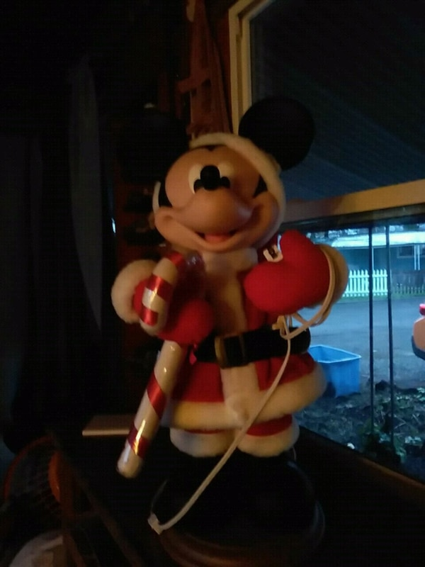 Mickey Mouse with christmas cane figurine