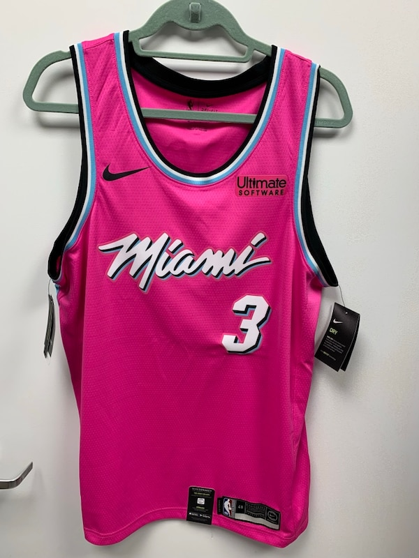 new products 6a2e6 a3de9 Dwyane Wade Miami Heat Nike Sunset Vice Pink Jersey