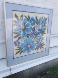 Abstract Framed Blue Flower Needlepoint Langley, V3A 0C9