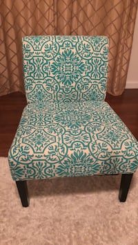 white and blue floral padded chair set of 2