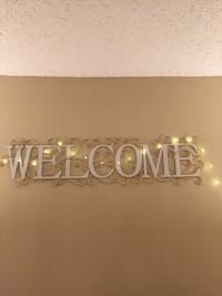 Welcome wall sign decor metal white gold