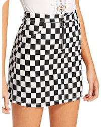 Sexy checkered mini skirt