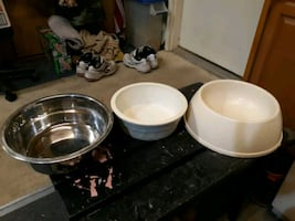 Dog food and water dishes. It's available!!