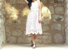 white and pink floral crew neck sleeveless dress