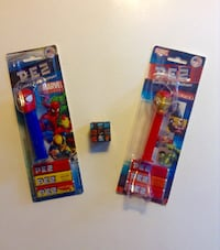 Set of Marvel Superhero Pez Spiderman and Ironman plus Bonus Mini Puzzle Cube