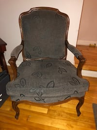 Brown wooden framed gray padded armchair set of two each $300 Mont-Royal, H3P 2J1
