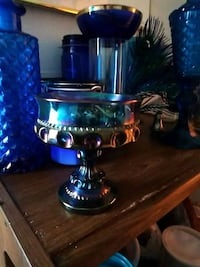 Blue carnival glass candy dish