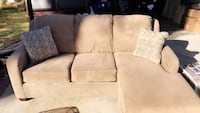 Beige suede sectional couch