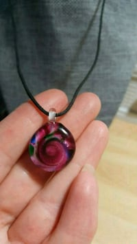 Purple Glass Pendant on a Black Cord Calgary, T2B 2V1