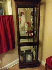 Wood curio cabinet with glass shelves beautiful not one chip