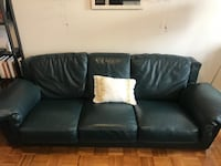 Dark green authentic leather sofa set. One three seat and one lounger with foot rest. New York, 11217