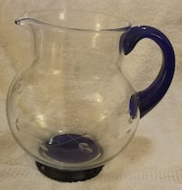 Pitcher with Cobalt Blue Base and Handle COLUMBIA