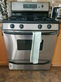 stainless steel and black gas range oven 541 km